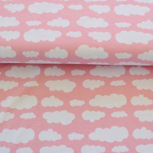 """Jersey """"Wolken"""" rosa/ weiß"""