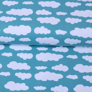 """Jersey """"Wolken"""" aqua/ weiß"""