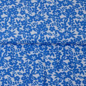 """Jersey """"Blumen"""" blau/ weiß"""