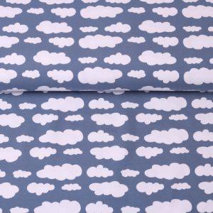 """Jersey """"Wolken"""" taubenblau/ weiß"""