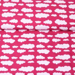 """Jersey """"Wolken"""" pink/ weiß"""