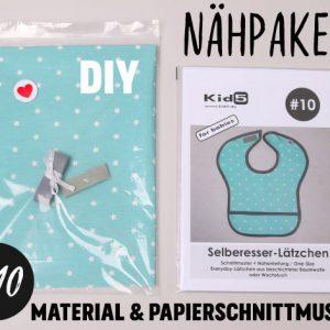 #10 Nähpaket Selberesser-Lätzchen Aqua + Papierschnittmuster