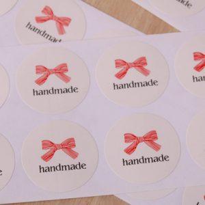 """""""Handmade"""" Aufkleber Sticker rund 20 Stück"""