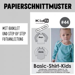 #44PP Papierschnitt Basic-Shirt-Kids + Booklet