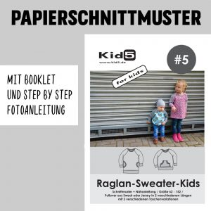 #5PP Papierschnitt Raglan-Sweater-Kids + Booklet