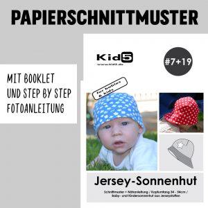 #7+19PP Papierschnitt Jersey Sonnenhut Babies und Kids + Booklet