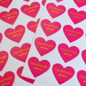 """Handmade"" Aufkleber Sticker Herz pink/gold 20 Stück"
