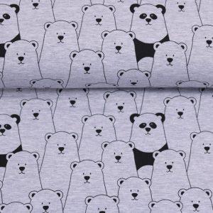 """Jersey """"Bären"""" grau-melange /schwarz"""