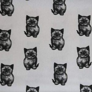 """Restmenge! Jersey """"Cutie-Cats"""" weiß/ schwarz"""