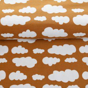 """Jersey """"Wolken"""" senf/ weiß"""