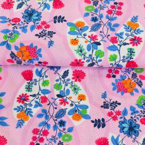 "Jersey ""Flora"" in rosa/bunt"