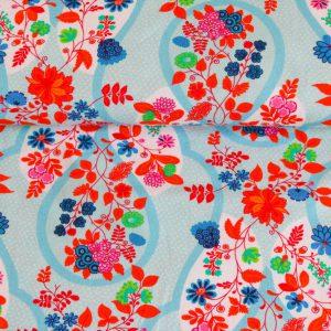 """Reststück 80 cm! Jersey """"Flora"""" in blau/bunt"""