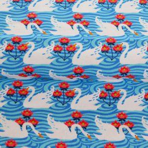 """Restmenge!  Jersey """"beautiful Swan"""" in blau/bunt"""