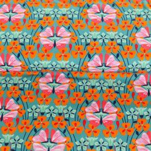 """Restmenge! Jersey """"butterfly flowers"""" in türkis/ bunt"""
