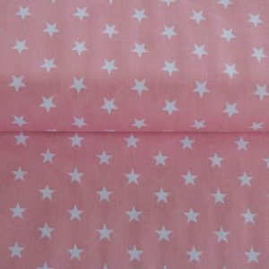 "Baumwollstoff ""Sterne"" rosa/ weiß"