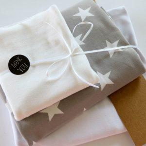 """Stoff-Paket """"Sterne grau/weiß"""" +SnapPap"""