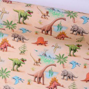"""Restmenge! Beschichtete Baumwolle/ Wachstuch """"Dinosaurier"""""""