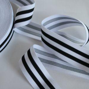 Gummiband/ Gummilitze für Applikationen 35mm breit in schwarz/weiß gestreift