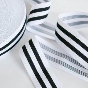 Gummiband/ Gummilitze für z.b. für Applikationen 35mm breit in schwarz/weiß gestreift