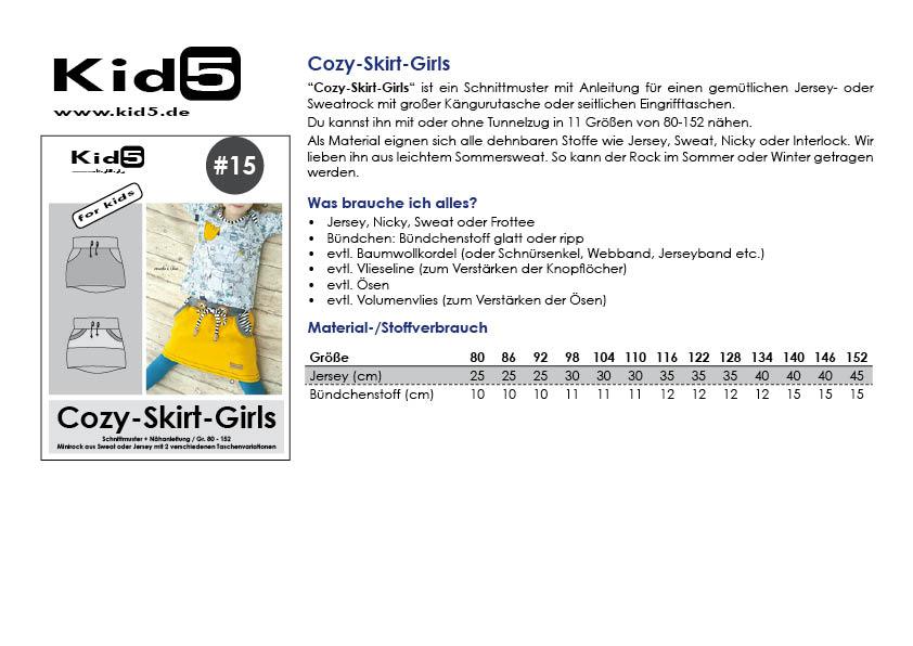 15PP Papierschnitt Cozy-Skirt-Girls + Booklet – Kid5
