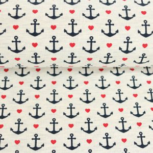 "Jersey ""lovely Anchors"" grau-melange"