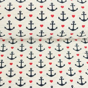 "Reststück 40cm! Jersey ""lovely Anchors"" grau-melange"