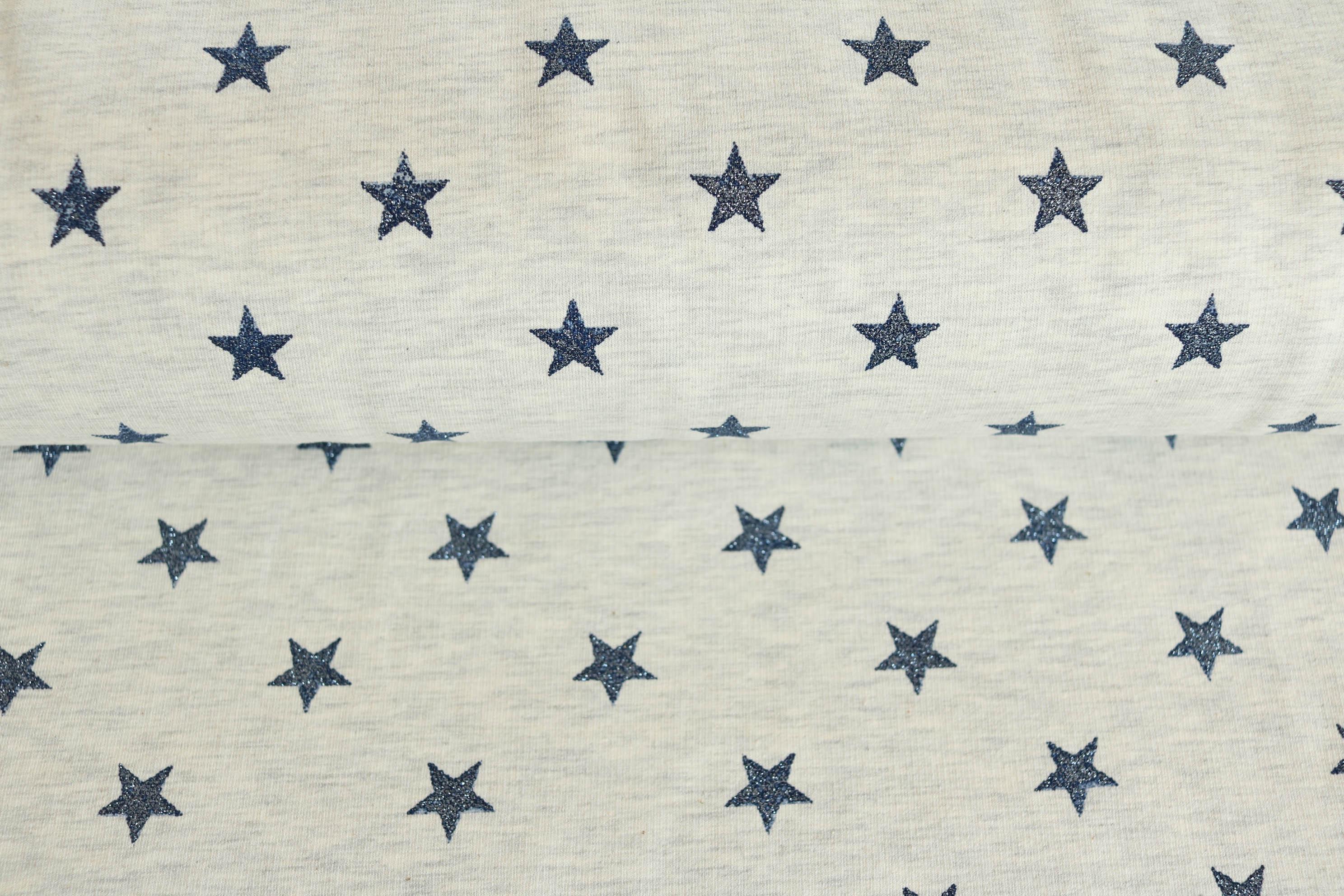mausgrau Sterne Baumwolle Jersey 145 cm ca