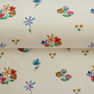"Bio-Jersey ""beautiful Flowers"" in ecru/bunt von Birch Fabrics"