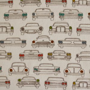 "Bio-Jersey ""old Cars"" in ecru/bunt von Birch Fabrics"