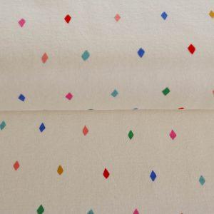 """Bio-Jersey """"bunte Rauten"""" in ecru/bunt von Birch Fabrics"""