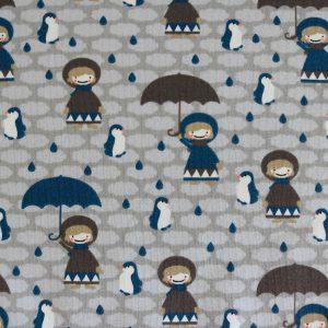 """Jersey """"Mädchen mit Schirm"""" grau"""