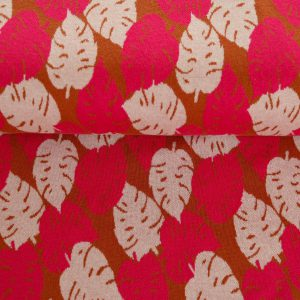 "Restmenge! Jacquard ""Monstera"" by Cherry Picking in ocker/ pink/ ecru"