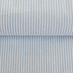 Rest 170cm!  Seersucker fein gestreift in weiß/hellblau