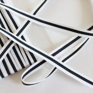 Webband/ Flachkordel 10mm breit in schwarz/weiß gestreift