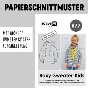 #77PP Papierschnitt Boxy-Sweater-Kids + Booklet