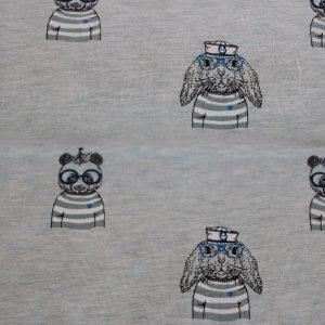 """Restmenge! Jersey """"Seebär und Hase"""" in grüngrau-melange/ schwarz mit blauer Brille"""
