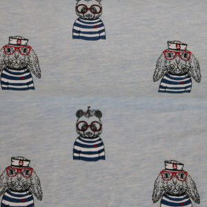 """Jersey """"Seebär und Hase"""" in blau-melange/ schwarz mit roter Brille"""