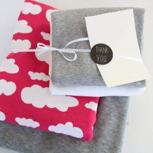 """Stoff-Paket """"Nicky+Wolken grau/pink"""" +SnapPap"""