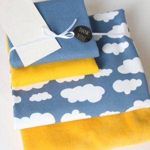 "Stoff-Paket ""Nicky+Wolken gelb/taubenblau"" +SnapPap"