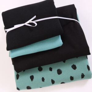 "Stoff-Paket ""black and white""  in petrol-aqua/schwarz"