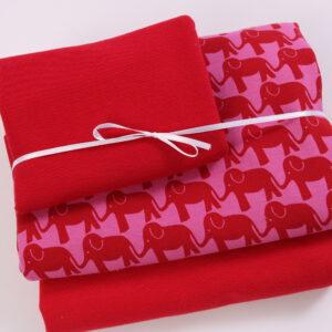 "Stoff-Paket ""Elephant Parade""  in rot/pink"