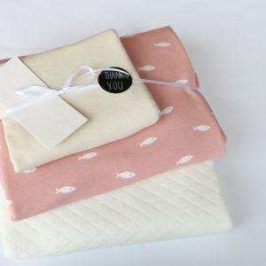 """Stoff-Paket """"Steppsweat kleine Fische rose"""" +SnapPap"""
