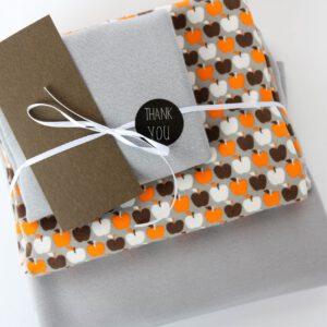 "Stoff-Paket ""Retro Apple"" in grau/braun/orange"