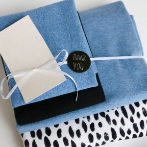 "Stoff-Paket ""black and white + mittelblau "" +SnapPap"