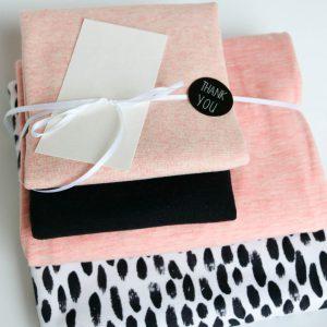 "Stoff-Paket ""black and white + rose "" +SnapPap"