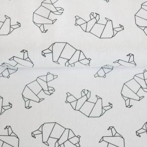 """Jersey """"Origami Bär""""  in weiß/schwarz"""
