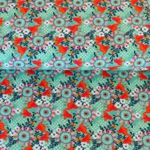 "Restmenge! Jersey ""Birds and Flowers"" in mint/ bunt"