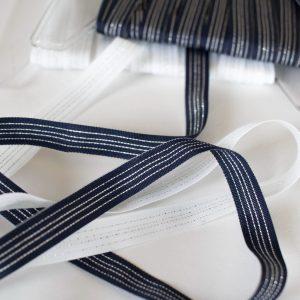 Webband/ Flachkordel 10mm breit mit Silber / Glitzer ( Farbe wählen)