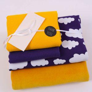 """Stoff-Paket """"Nicky+Wolken senf/lila"""" +SnapPap"""