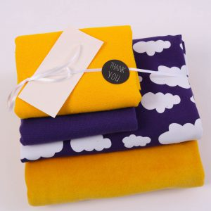 "Stoff-Paket ""Nicky+Wolken gelb/lila"" +SnapPap"